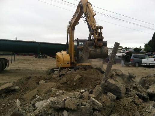 Large Tractor Digging Dirt in Santa Cruz