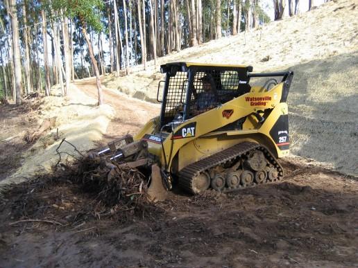Cat Excavation Unit digging dirt in Santa Cruz Hills